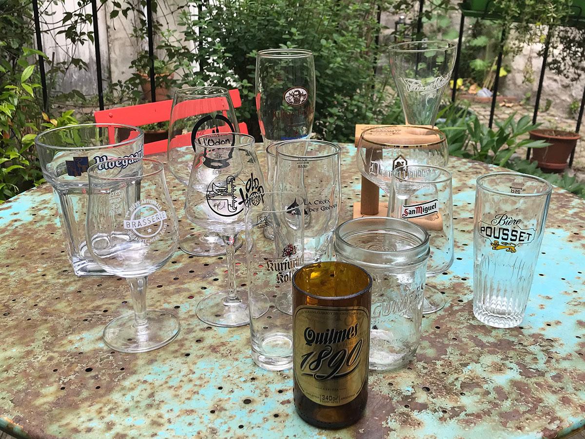 Différents verres à bière de ma collection personnelle de JB Quentin